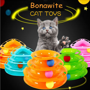 Roller Cat Toy, Interactive Fun with 3-Level Tower Ball & Track