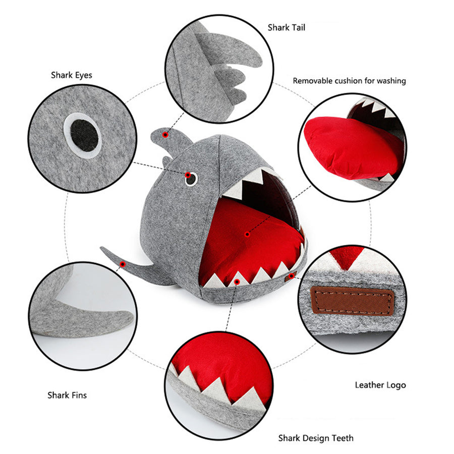 Shark Design Cat Bed Cave Shark Pet House with Removable Cushion Mat