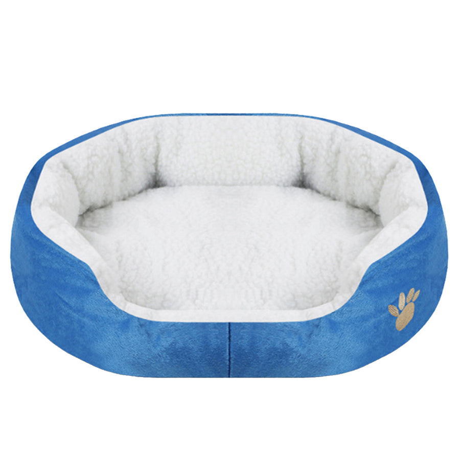 paw print comfy dog bed blue QBLEEV