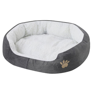 paw print comfy dog bed grey QBLEEV