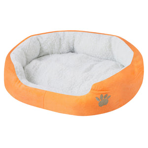 paw print comfy dog bed orange QBLEEV