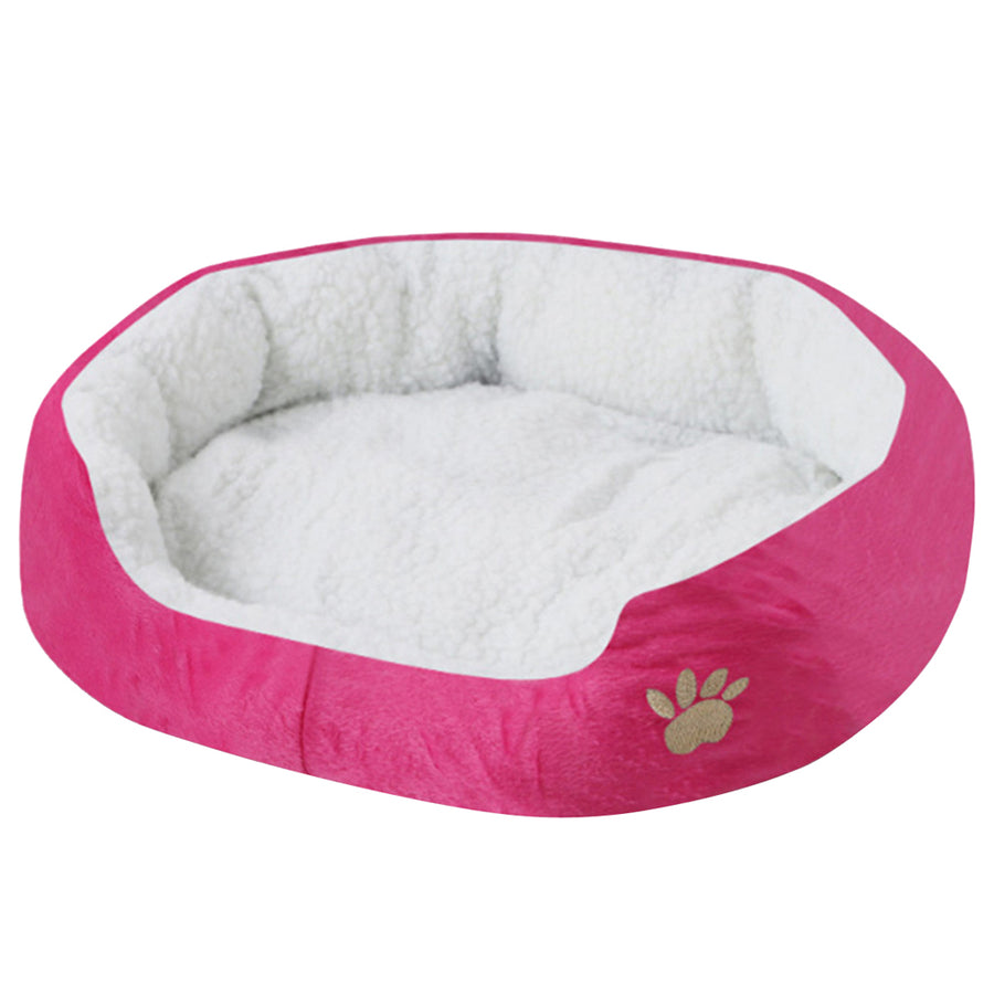 paw print comfy dog bed rose red QBLEEV