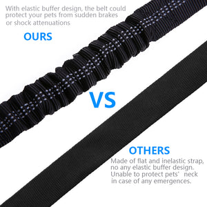 Comparison between Qbleev elastic dog seat belt and other seat belts
