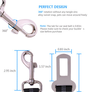 metal button size and design of Qbleev elastic dog seat belt