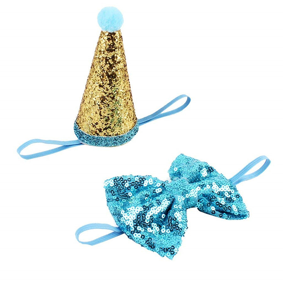 Birthday Party Cone Hat With Band Bow Tie Collar Set