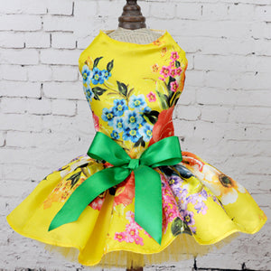 Pet Dog Grid Stylish Clothes Puppy  Wedding Dress For Summer And Spring
