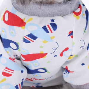 chest of Four-Legged Dog Pajamas Knitted QBLEEV blue and red