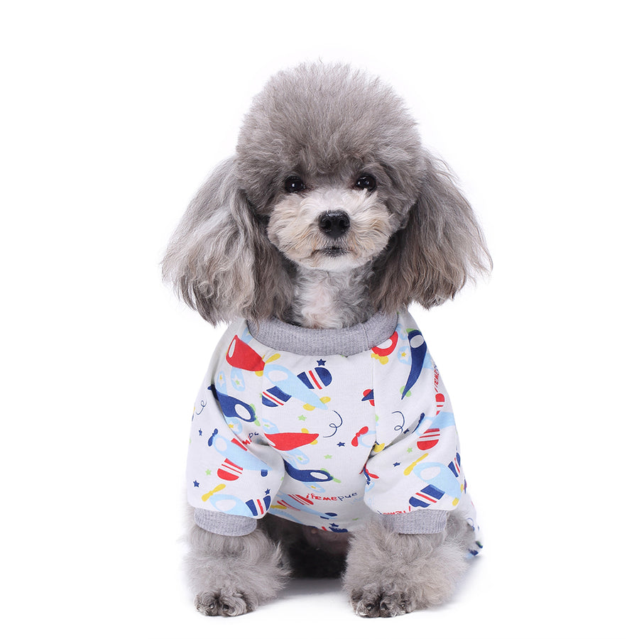 front side of Four-Legged Dog Pajamas Knitted QBLEEV blue and red