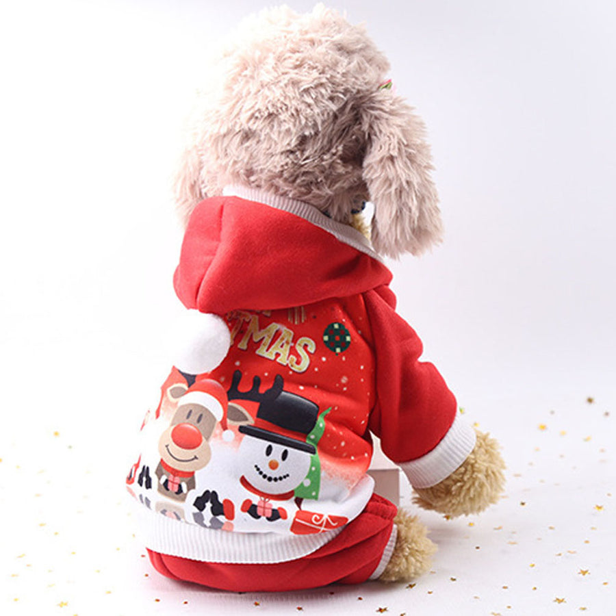 Dog Christmas Coat With Snow Man Santa And Deer Printed