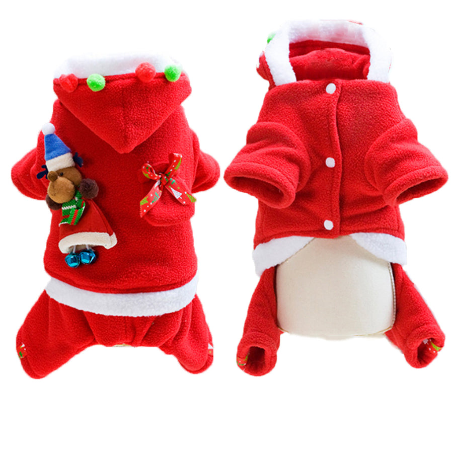 Dog Christmas Santa Costume With Hoodie Outfit