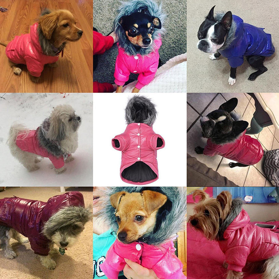 Pet Dog Waterproof Coat In Winter ,Puffy Hooded Warm Puppy Jacket For Cold Weather