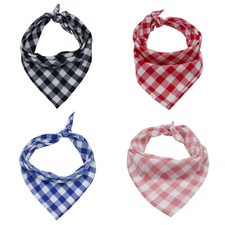 Plaid dog bandanas in triangle shape with England grid (4 pack)