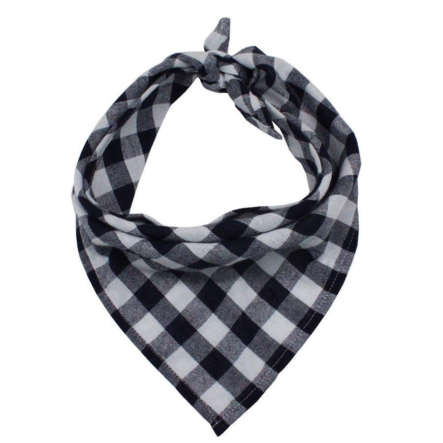 black and white plaid dog bandanas in triangle shape
