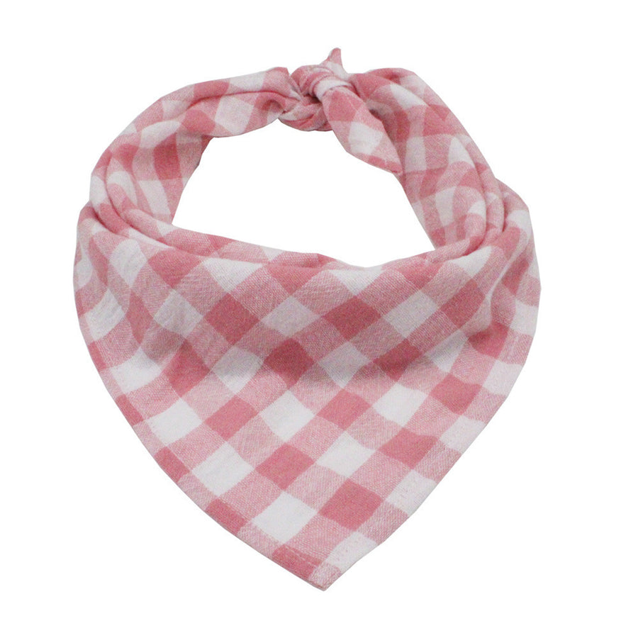 light red and white plaid dog bandanas in triangle shape
