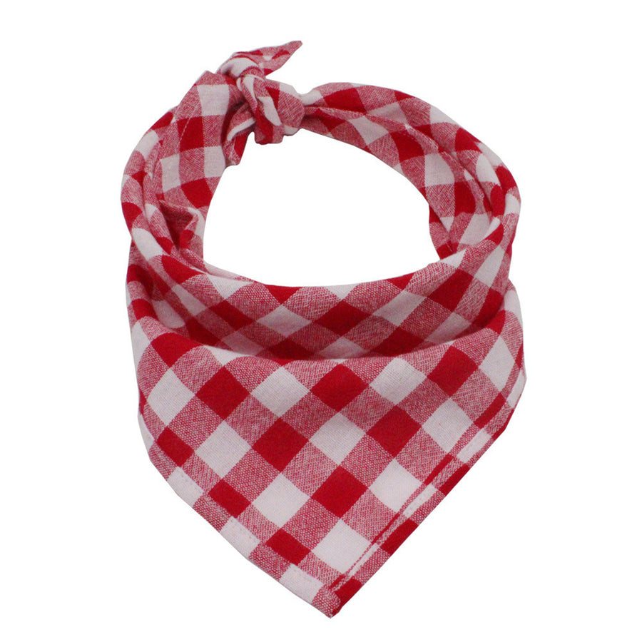 red and white plaid dog bandanas in triangle shape
