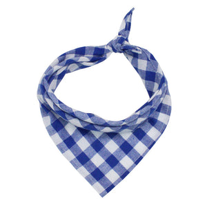 blue and white plaid dog bandana in triangle shape