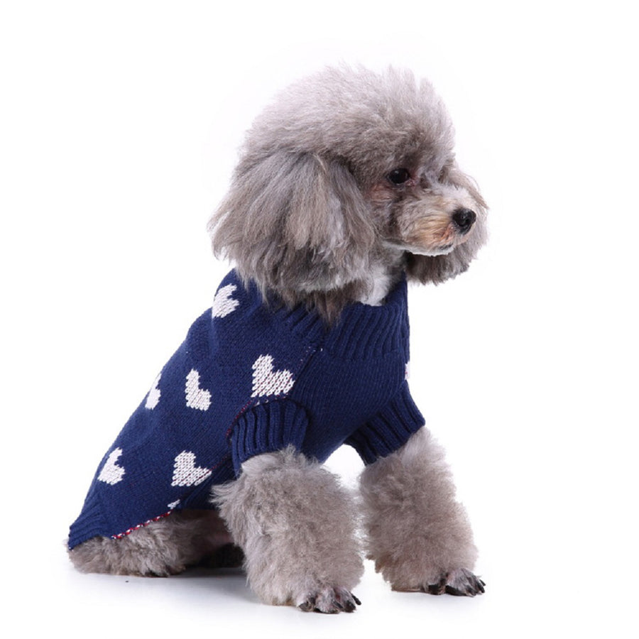 Pet Dog Winter Sweater With heart Design For The Holiday