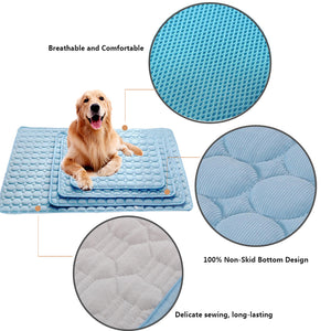 design of dog silk cooling mat blue QBLEEv
