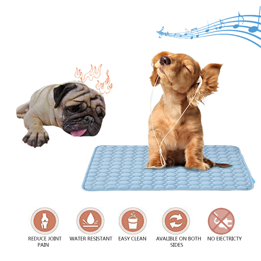 dog silk cooling mat blue QBLEEv