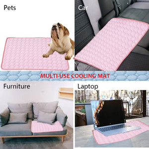 multi-use of dog silk cooling mat pink QBLEEv