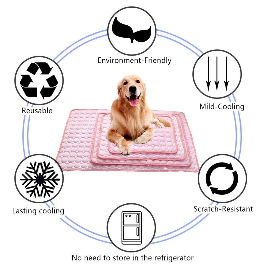 functions of dog silk cooling mat pink QBLEEv