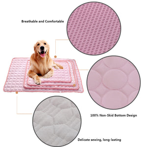 design of dog silk cooling mat pink QBLEEv
