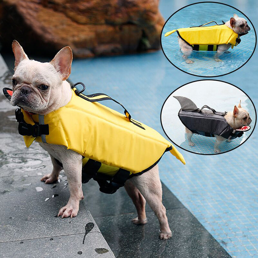 left side of dog life jacket of duck design with chin pad