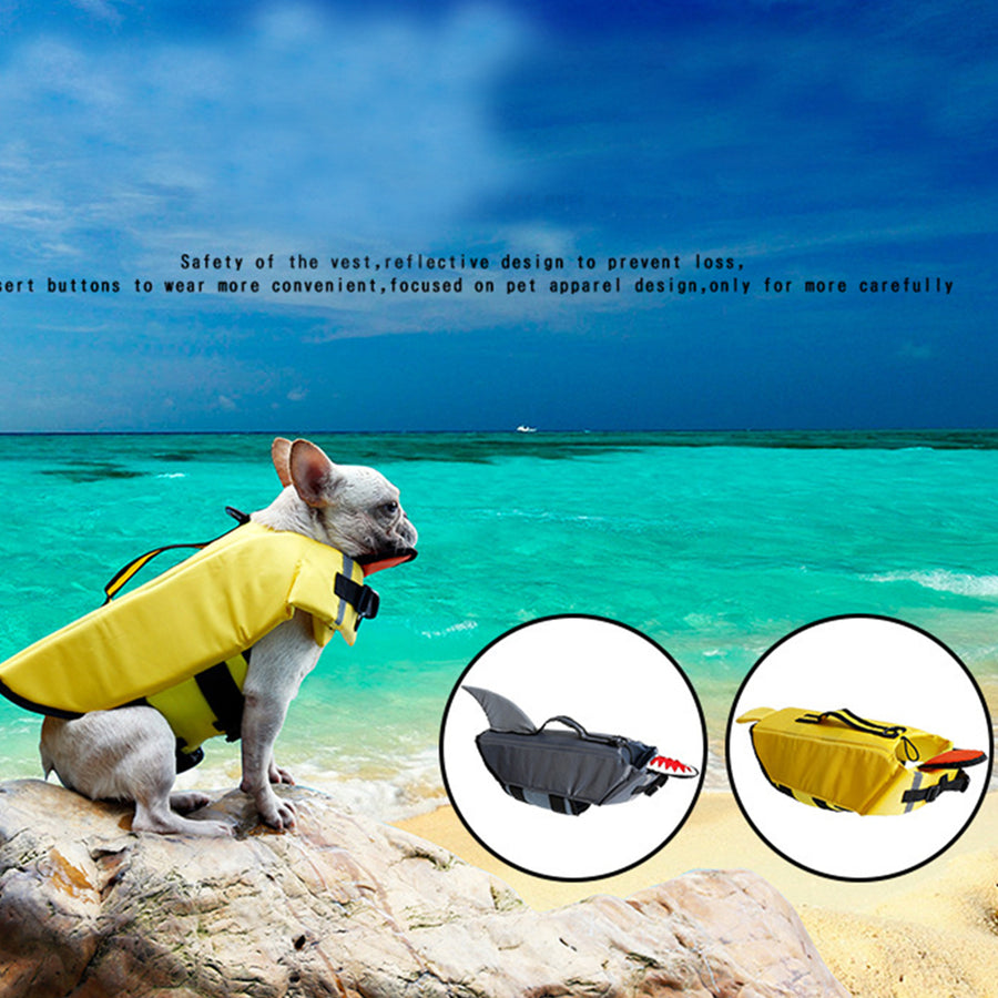 right side of dog life jacket of duck design with chin pad