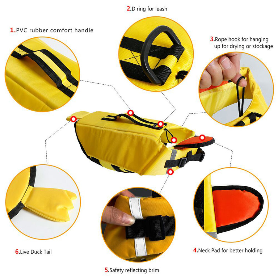 design of dog life jacket of duck design with chin pad