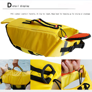 dog life jacket of duck design with chin pad