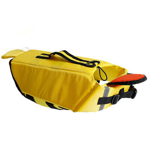 Qbleev dog life jacket of duck design with chin pad