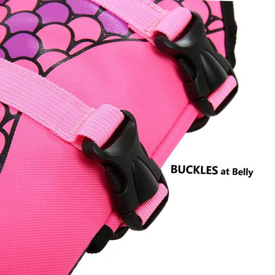 dog life jacket mermaid pink with buckles on the belly