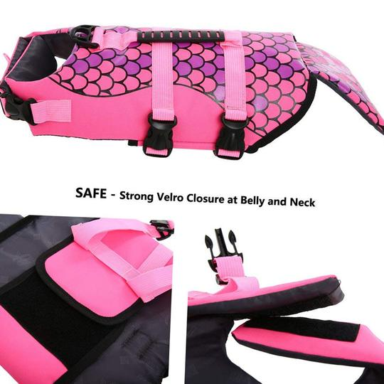 dog life jacket mermaid pink