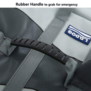 dual rubber grab handles on the back of Qbleev dog lifejacket shark grey