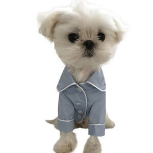 Silk Dog Pajamas QBLEEV Light Blue