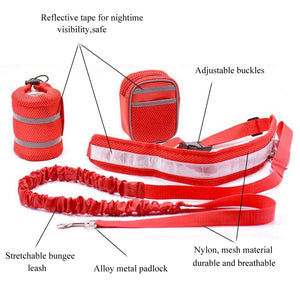 design of Qbleev hands free dog leash red