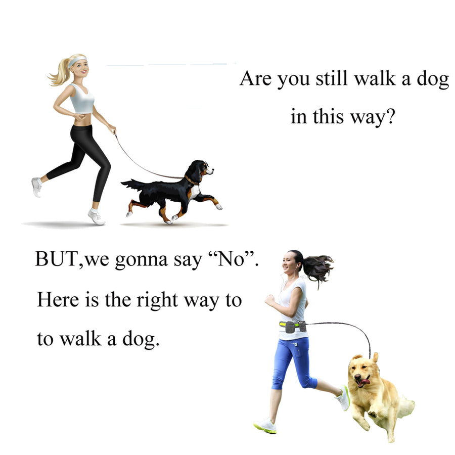 A woman running with Qbleev hands free dog leash linking to her dog