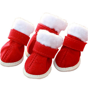 QBLEEV Thick Warm Christmas Dog Shoes