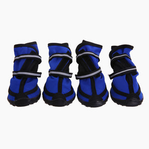 a set of four waterproof dog boots blue Qbleev