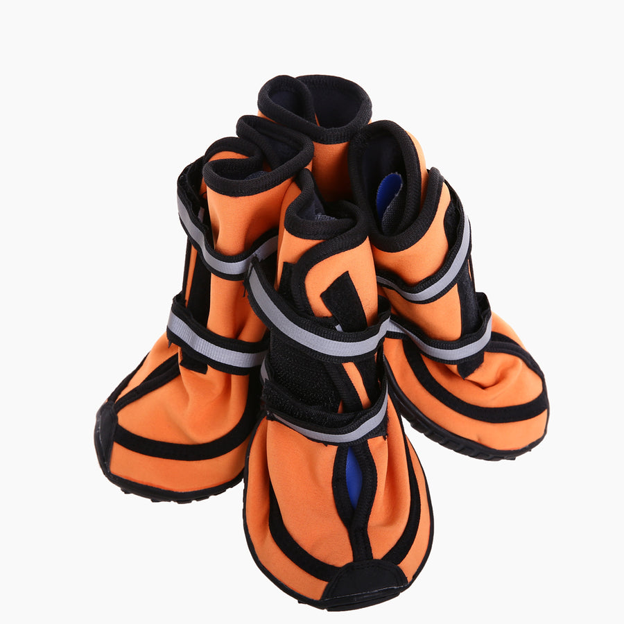 a set of four waterproof dog boots orange Qbleev