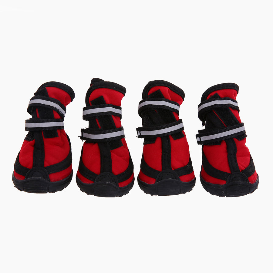 a set of four waterproof dog boots red Qbleev