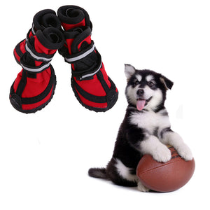 Waterproof Dog Boots With Reflective Velcro and Rugged Anti-Slip Sole