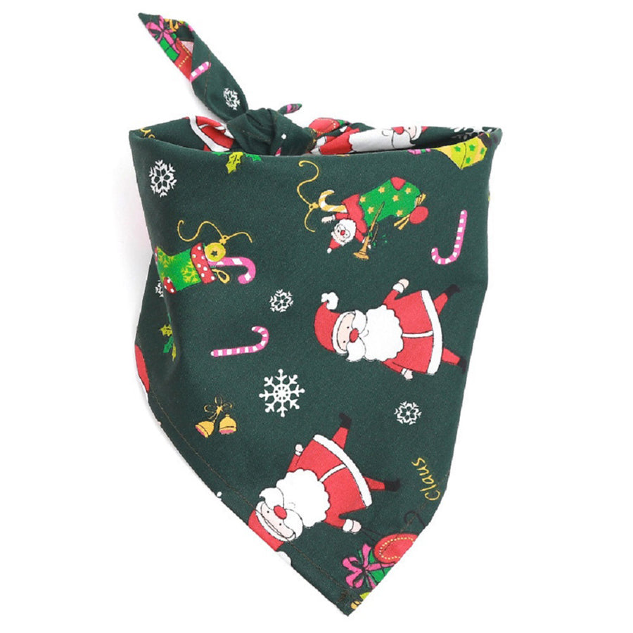 Dog Bandana Christmas Santa Claus green