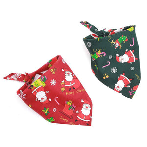 two Dog Bandanas Christmas Santa Claus red & green