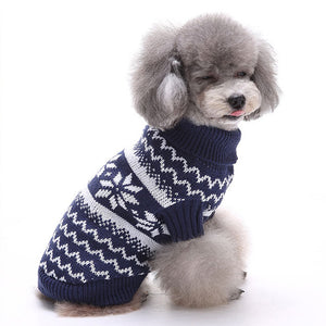 right side of Snowflake Christmas Dog Sweater Blue QBLEEV