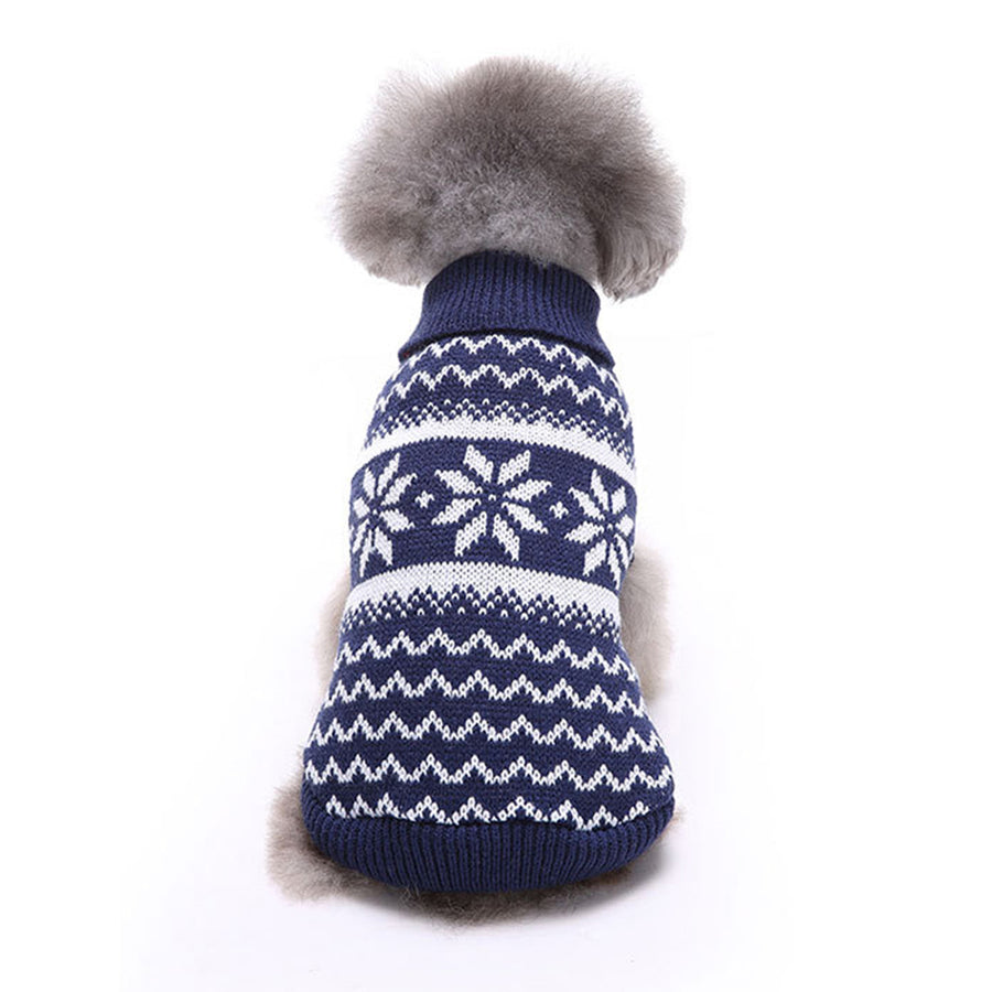 Back of Snowflake Christmas Dog Sweater Blue QBLEEV