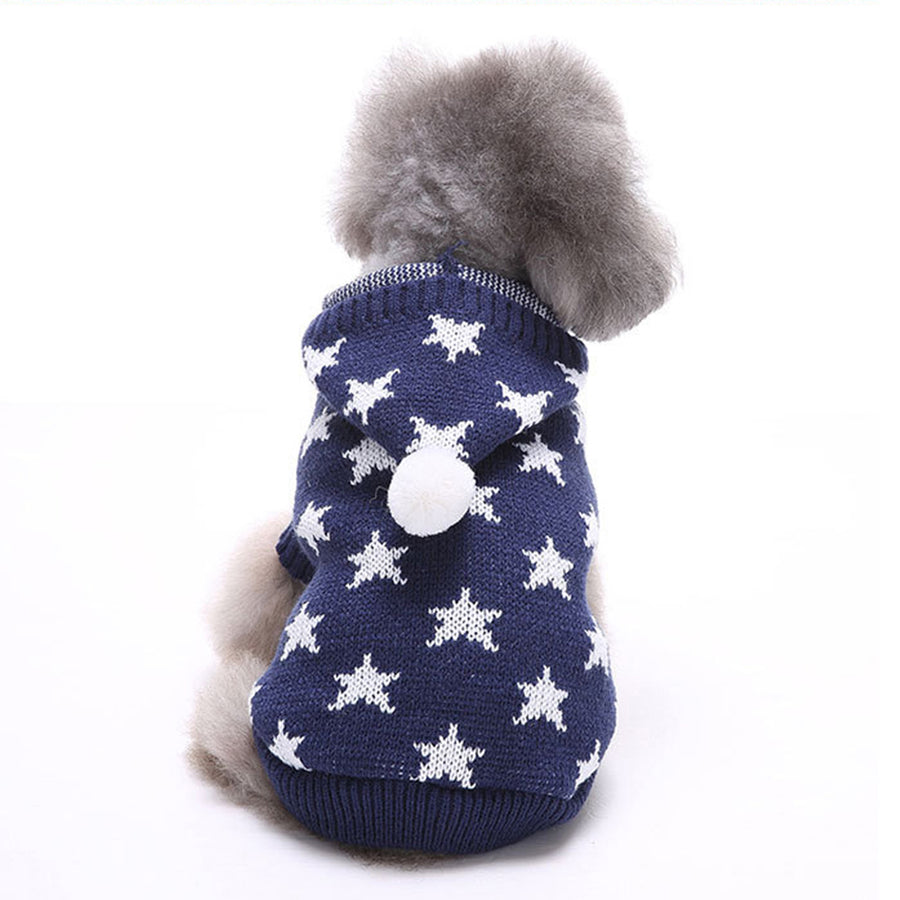 back of Little Star Christmas Dog Sweater blue QBLEEV