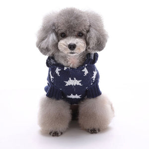 front of Little Star Christmas Dog Sweater blue QBLEEV