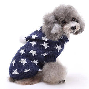 Little Star Christmas Dog Sweater Blue QBLEEV