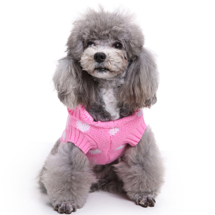 Dog Sweater With Lovely Heart Autumn Winter Knitwear Dog Clothes Hooded Pet Sweater Pink